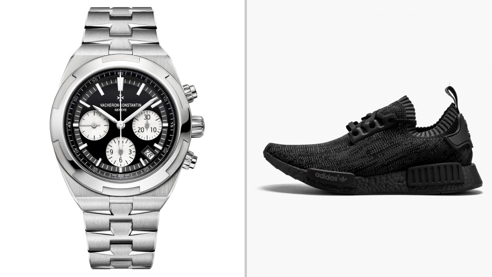 """Vacheron Constantin Overseas Chronograph, Black Dial paired with adidas NMD """"Pitch Black"""""""