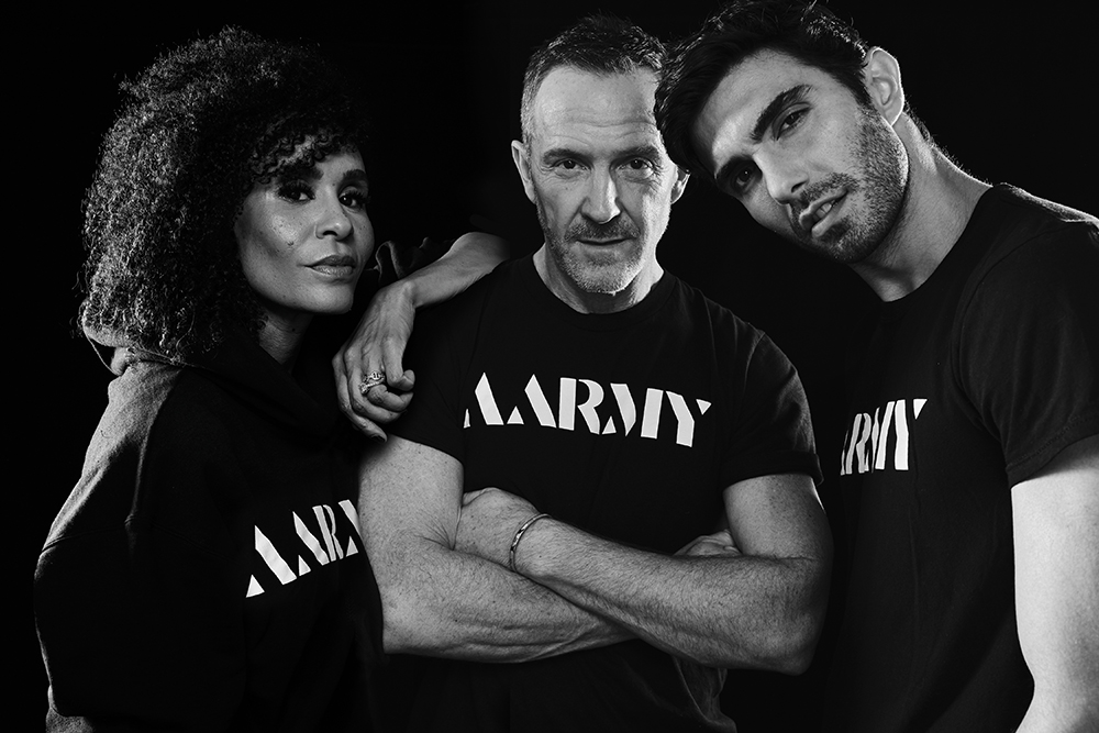 From left, Aarmy co-founders Angela Davis, Trey Laird and Akin Akman.