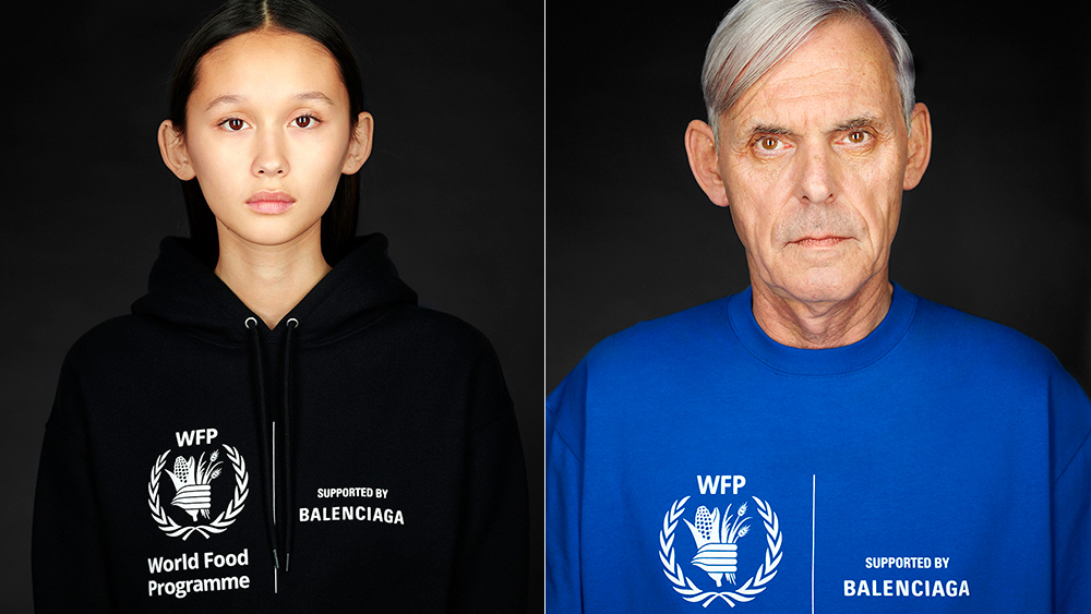 A hoodie and a T-shirt from Balenciaga's partnership with the World Food Programme.
