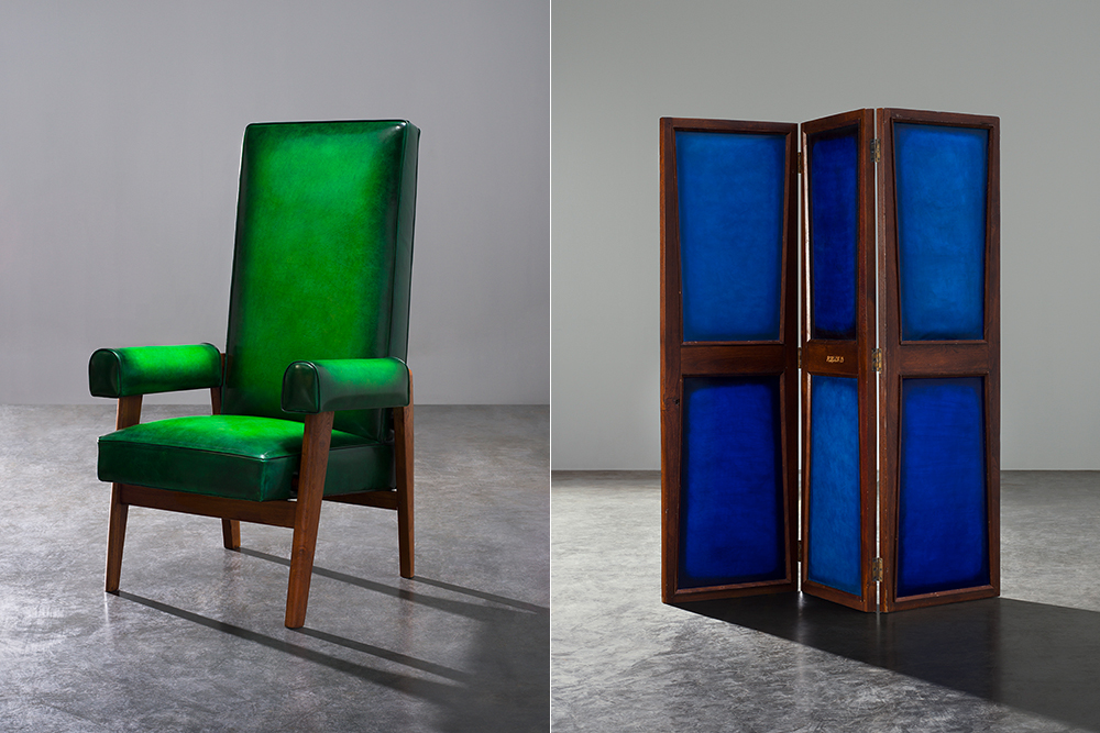 Berluti applied its leather to Pierre Jeanneret's iconic Chandigarh chairs and other furniture.