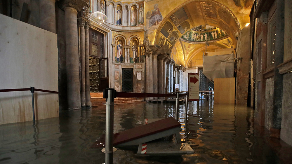 The flooding at Saint Mark's Basilica in Venice, Italy