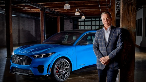 Bill Ford, executive chairman of Ford Motor Company, with the Mach-E.