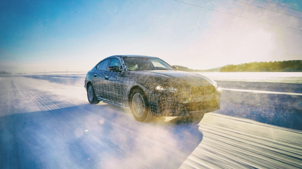 The BMW i4 undergoing cold weather testing in the Arctic Circle