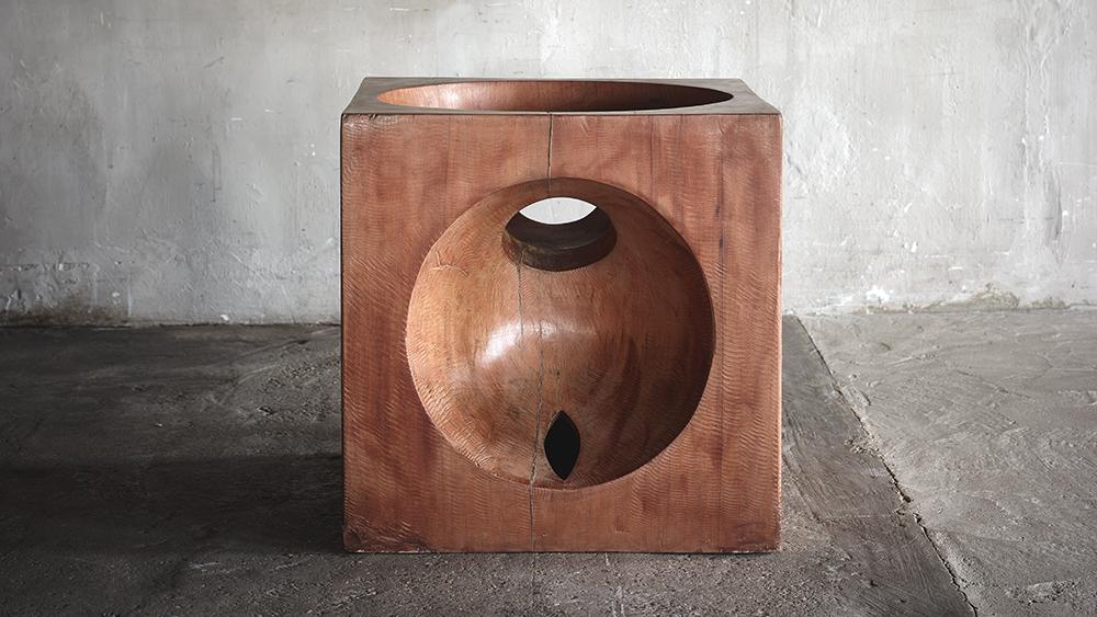 José Zanine Caldas Spanish Cedar Square Sculptural Socle