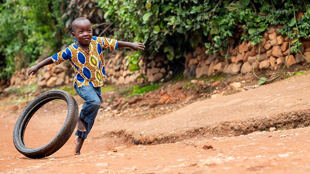 Touring the community in Rwanda