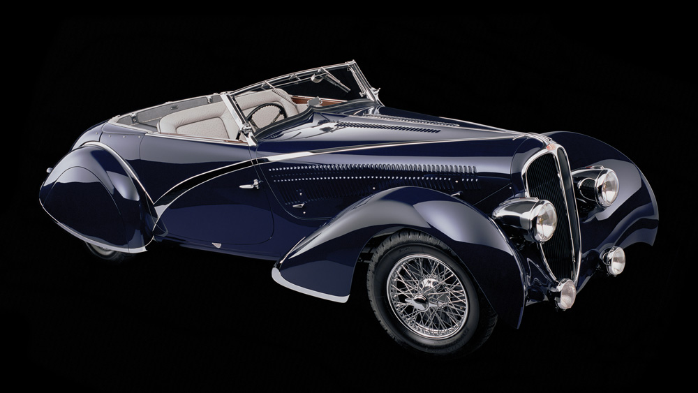 A 1936 Delahaye 135 Competition Long Wheelbase Disappearing Top Convertible.