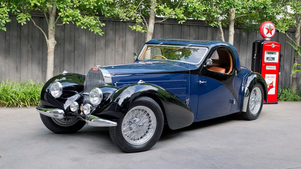 A 1938 Bugatti Type 57C Atalante Coupe.