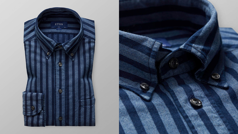 Eton Striped Indigo Flannel Shirt