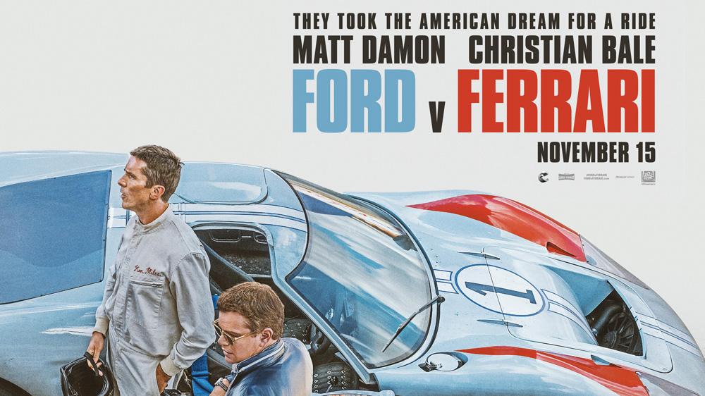 Movie poster from the film 'Ford v Ferrari.'