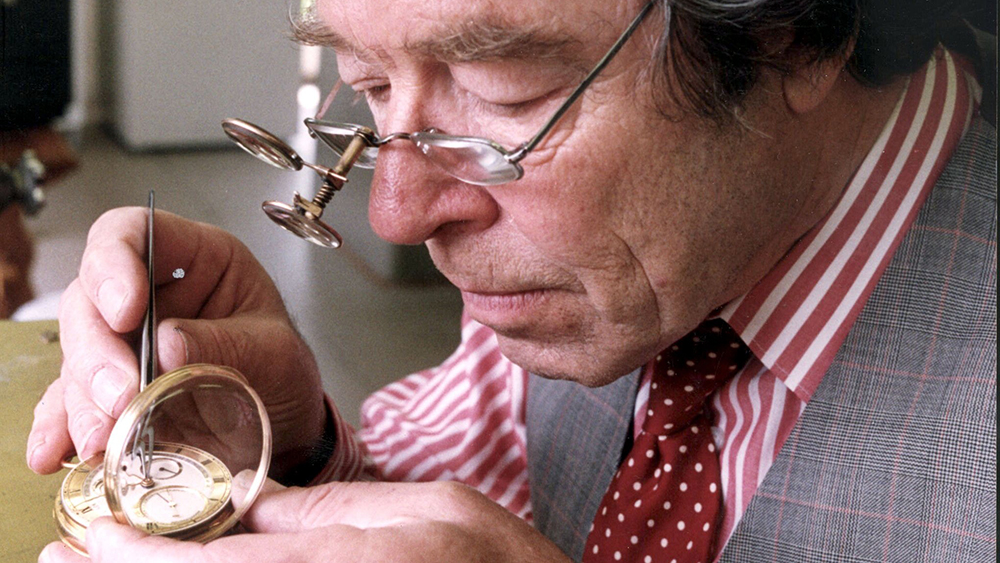 Watchmaker George Daniels at work in 1995