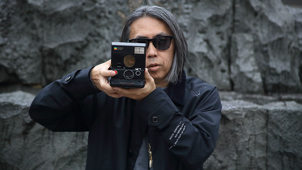 Hiroshi Fujiwara with the fragment design x Polaroid Originals SLR 680 camera