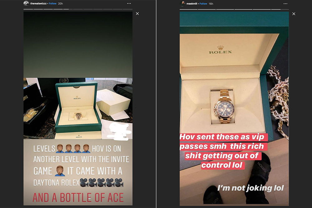 Meek Mill and Swizz Beatz shared images of the VIP passes for Jay-Z's annual charity gala: Rolex Cosmograph Daytonas.