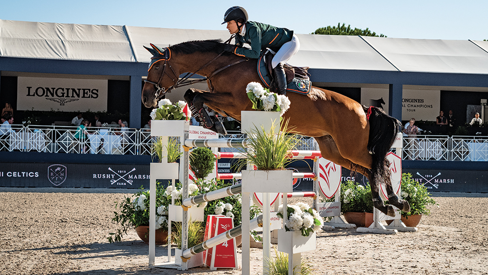 Jessica Springsteen and her horse Zecilie The pair take a jump at the Longines Global Championship Tour event in Saint-Tropez