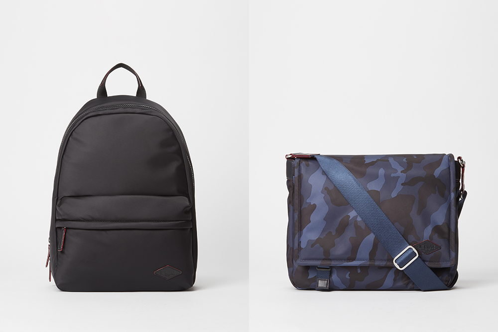 A backpack and a messenger bag from MZ Wallace's new men's collection.
