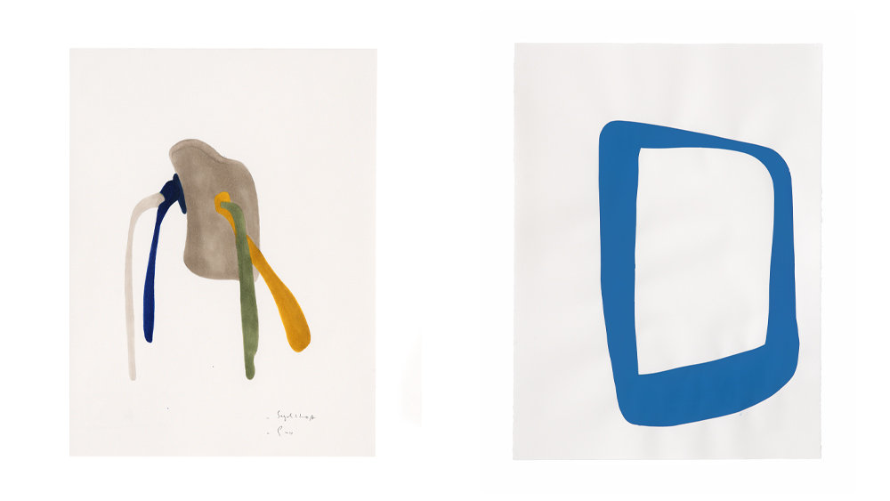 Two works from Nairy Baghramian's series Side leaps