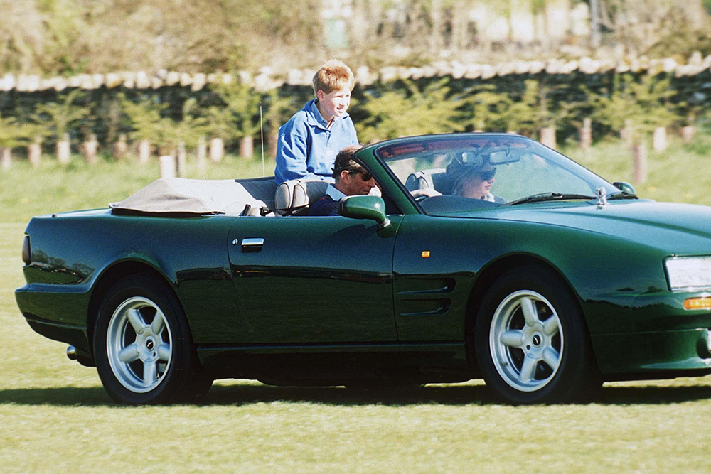 Prince Charles driving Aston Martin convertible car with Tiggy Legge Bourke and Prince Harry riding in the backPrince Charles Playing Polo at Cirencester, Gloucestershire, Britain - May 1998