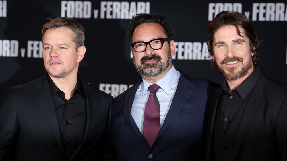 Matt Damon, James Mangold and Christian Bale at debut of 'Ford v Ferrari' movie.