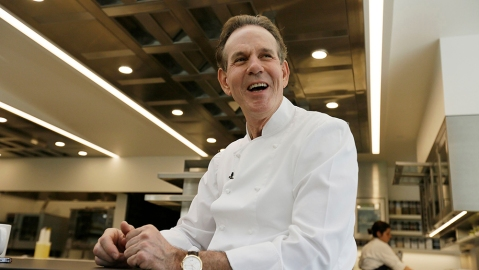 Chef Thomas Keller smiles during an interview in his new kitchen at the French Laundry restaurant in Yountville, Calif. The celebrated chef Keller has just opened a state-of-the art new kitchen at his famed French Laundry after spending $10 million on an extensive renovation.