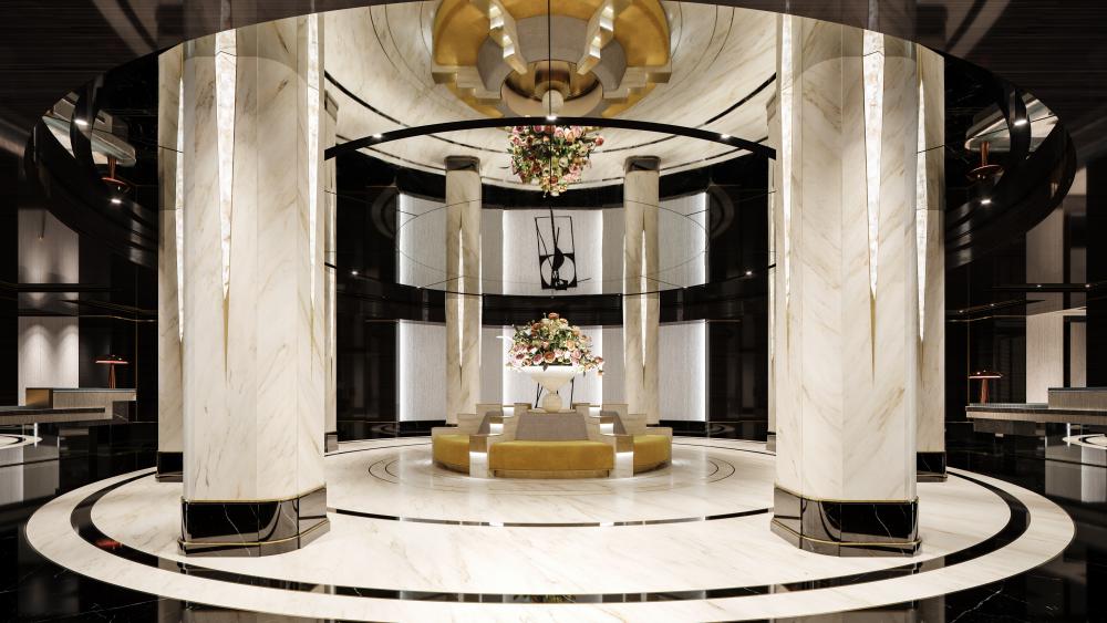 The residential lobby.