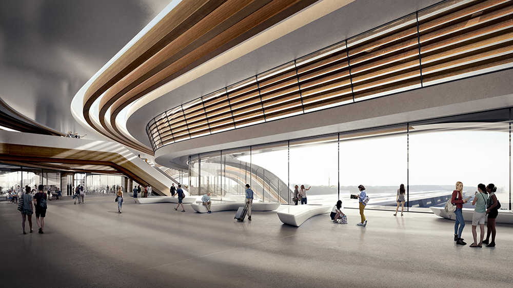 A rendering of the inside of the Rail Baltic Ülemiste terminal