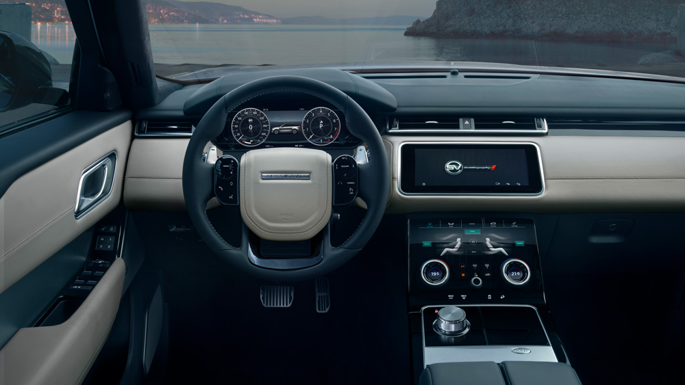 The interior of the Range Rover Velar SVAutobiography Dynamic Edition.