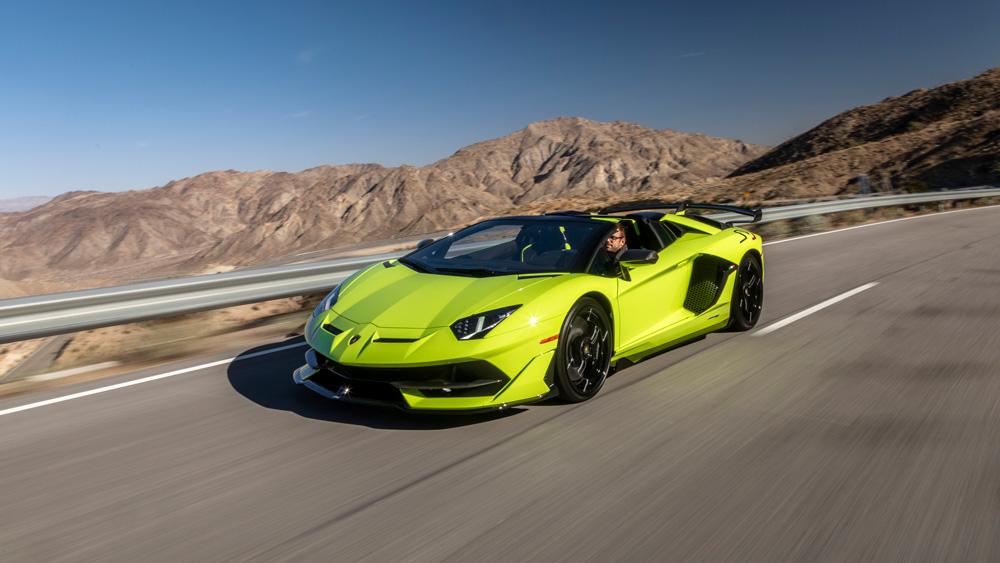 The Lamborghini Aventador SVJ Roadster.