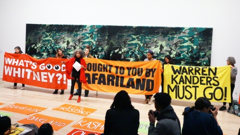 A protest held by Decolonize This Place at the Whitney Museum on March 22, 2019.