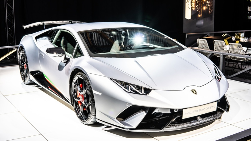 A Lamborghini Huracán Performante on display.
