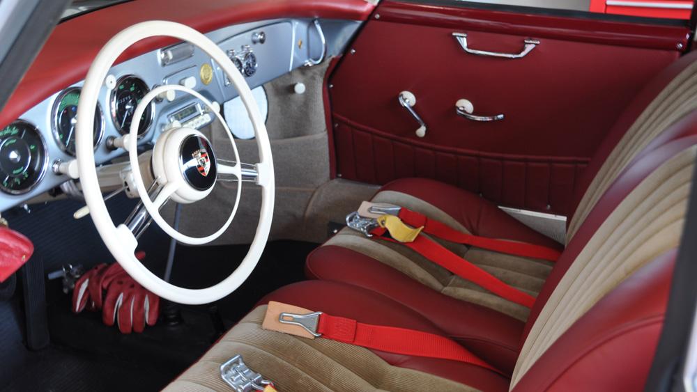 The interior of a 1956 Porsche 356.