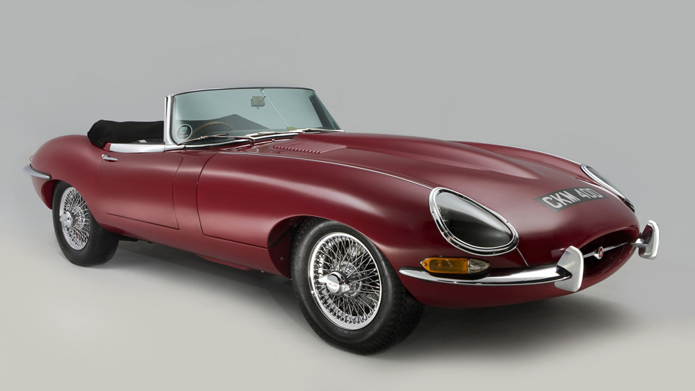 A 1965 Jaguar E-Type Cabriolet.