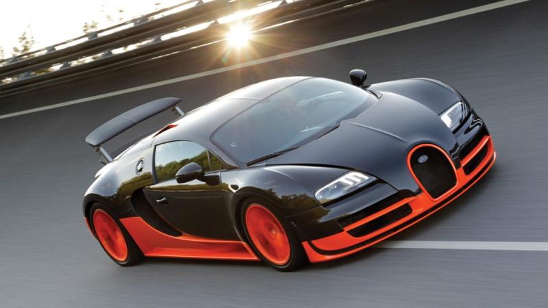 The Bugatti Veyron Super Sport on a racetrack.