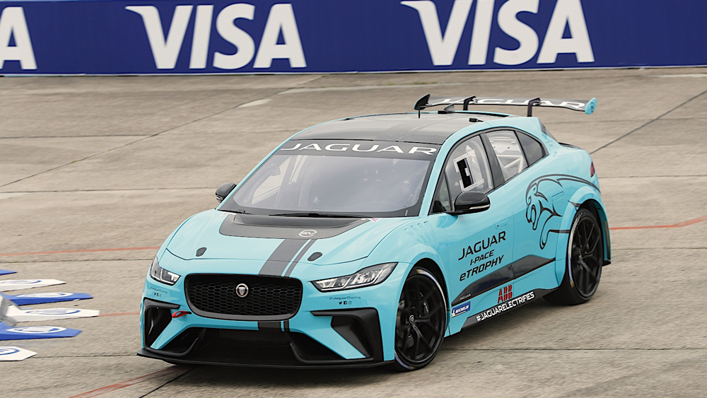 A competitor in the I-Pace e-Trophy series.