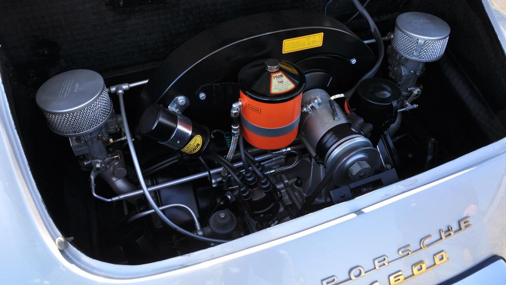 Th engine of a 1956 Porsche 356.