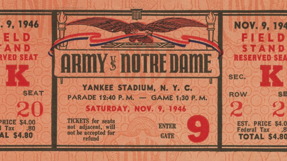 "November 9, 1946: A ticket from the first ""Game of the Century."""