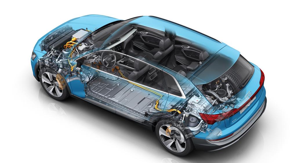 A cutaway illustration of the Audi e-tron 55 quattro's electric power-train configuration.
