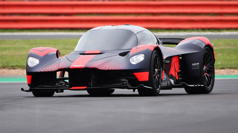 The Aston Martin Valkyrie at Silverstone racetrack.