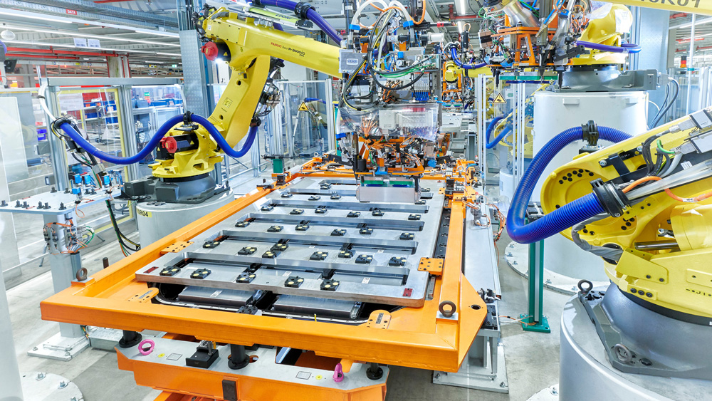 Battery assembly at the Audi plant in Brussels.