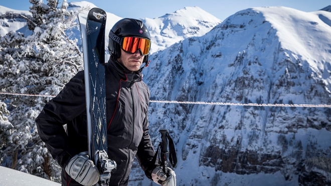 Bode Miller with the new collaboration between Bentley and Bomber Ski