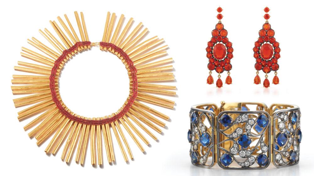 McTeigue & McClelland Fire Opal Drop Earrings, Sapphire Bracelet, Cleopatra Styx Necklace