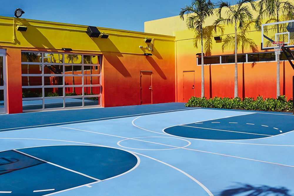 The baskteball court behind LeBron James's Unknwn store in Miami.