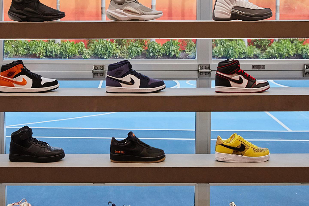 Sneakers on display at LeBron James's Unknwn store in Miami.