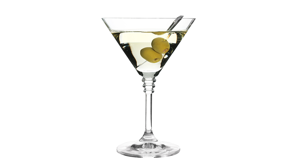 Glass of classic martini cocktail with olives on white background; Shutterstock ID 1279409728; Notes: rr jan