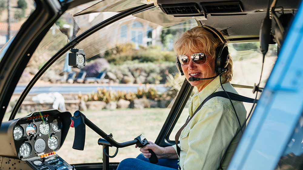 Heidi Barrett pilots her helicopter to visit clients