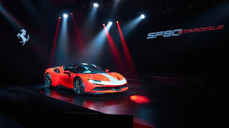 The Ferrari SF90 Stradale at its debut in China.