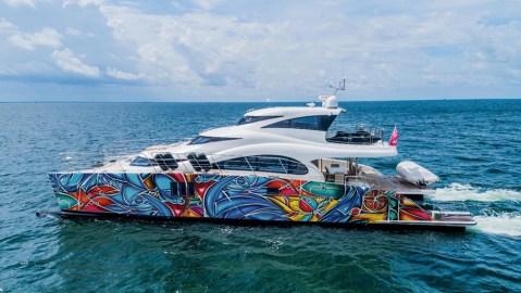 Artist Alexander Mijares and Sunreef Yachts' colorful 70-foot catamaran for Art Basel 2019
