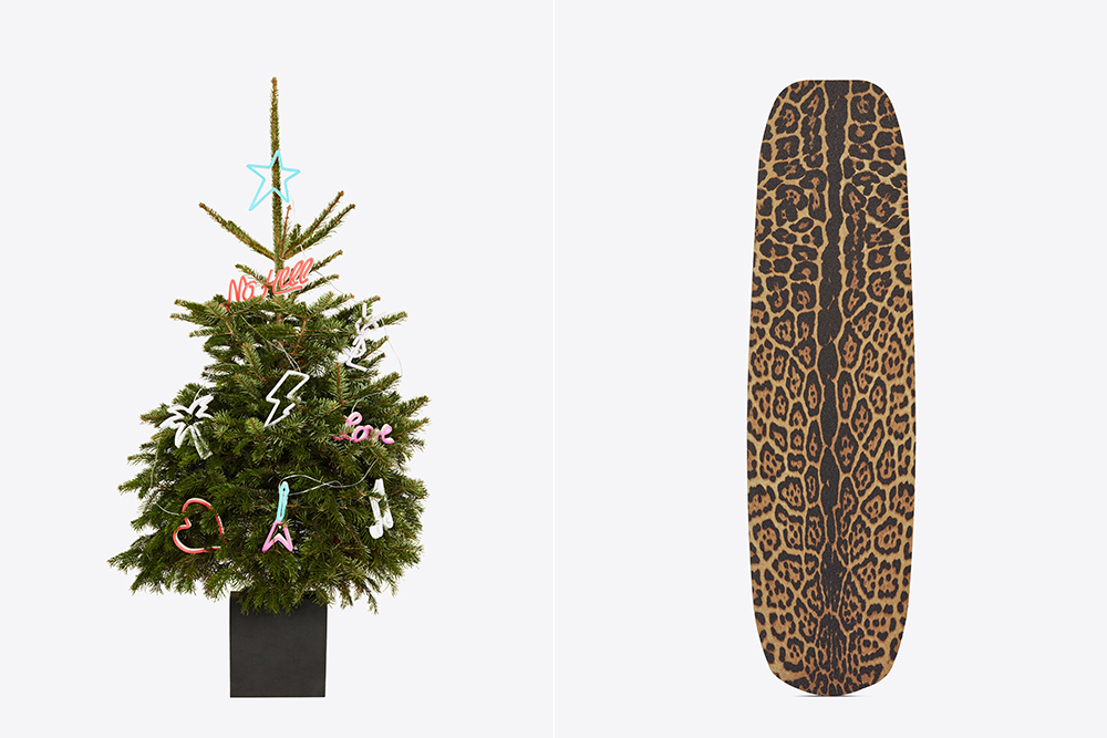 A Christmas tree and leopard print skateboard from Saint Laurent's Rive Droit holiday collection.