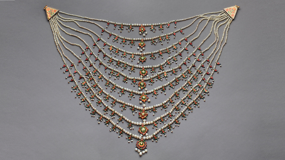and White Stone Necklace from India c. 1800