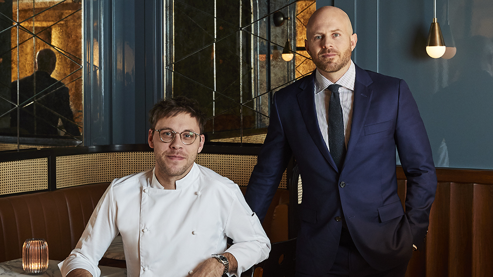 Chef Austin Johnson and sommelier Dustin Wilson at Goodman's Bar