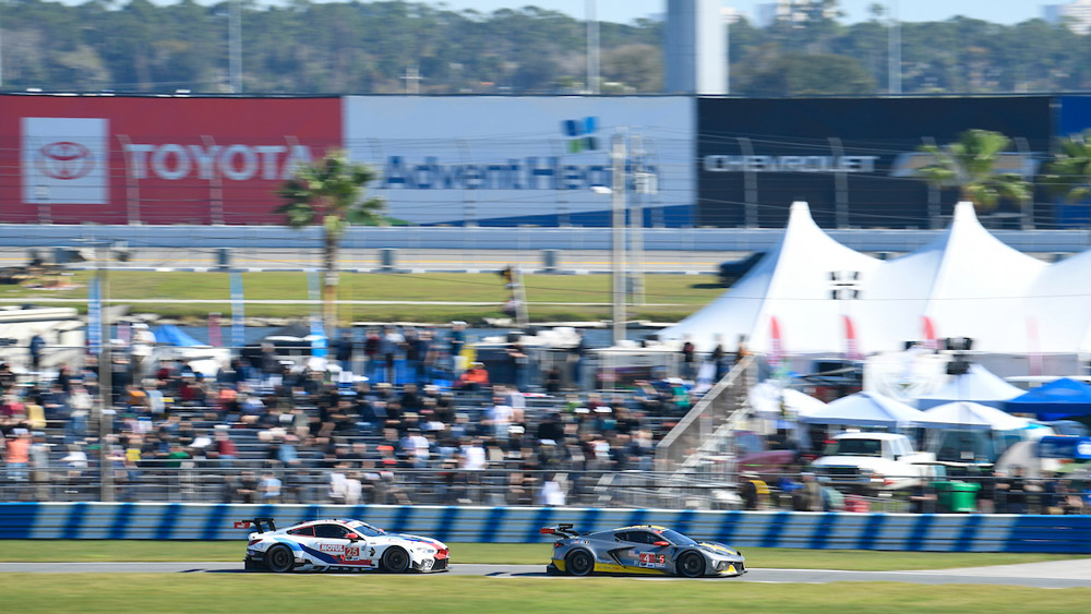 Racing action during the 2020 Rolex 24 Hours at Daytona.