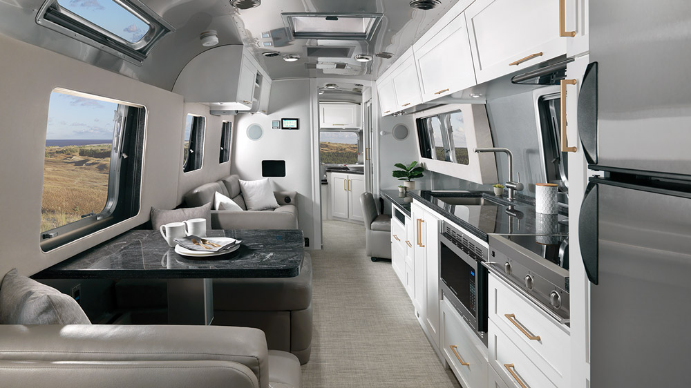 The Airstream Classic travel trailer with Comfort White trim package.